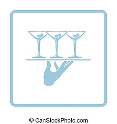 Waiter hand holding tray with martini glasses icon. Blue...
