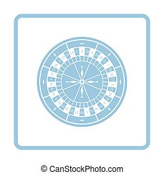 Roulette wheel icon. Blue frame design. Vector illustration.