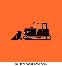 Icon of Construction bulldozer Orange background with black...