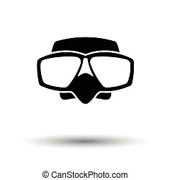 Icon of scuba mask . White background with shadow design....