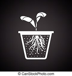 Seedling icon. Black background with white. Vector...