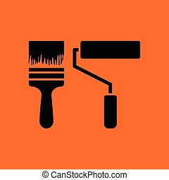 Icon of construction paint brushes. Orange background with...