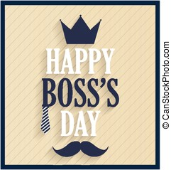 Boss day retro card. Vector illustration.