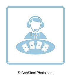 Casino dealer icon. Blue frame design. Vector illustration.