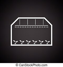 Greenhouse icon. Black background with white. Vector...