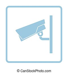 Security camera icon. Blue frame design. Vector...