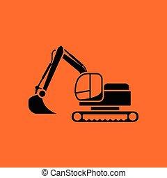 Icon of construction excavator Orange background with black...