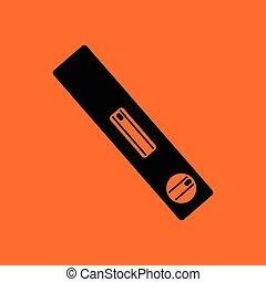 Icon of construction level . Orange background with black....
