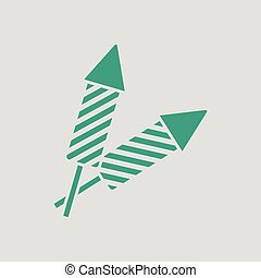 Party petard icon. Gray background with green. Vector...