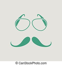 Glasses and mustache icon. Gray background with green....