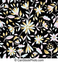 Gold flower seamless pattern in pastel colors - Gold floral...