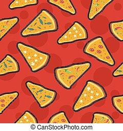 Pizza stitch patch icons seamless pattern