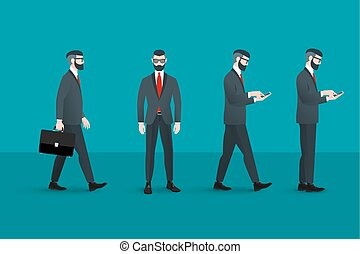 Set of trendy nerd hipster businessmans. Abstract flat...