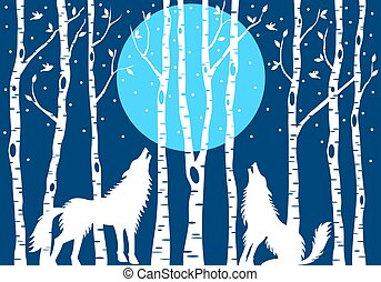 Howling wolf with birch trees, vector