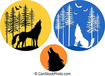 Howling wolf with moon, vector set - Howling wolf with moon,...
