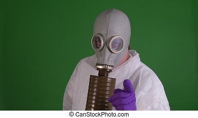 gas mask - man in gas mask on green screen