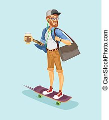 Vector illustration of a cool hipster riding a skateboard...