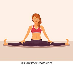 Vector illustration of yoga girl doing the splits.
