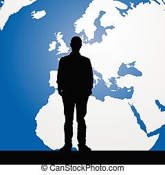 migration man silhouette and map in background illustration...