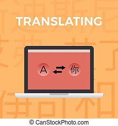 Concept of Translate work moment.orange background with Japanese symbols