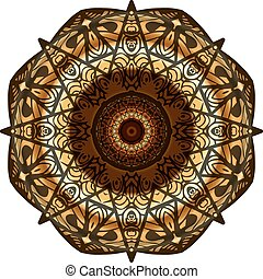 Decorative gold,brown frame with vintage round patterns on white