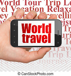Travel concept: Hand Holding Smartphone with World Travel on...
