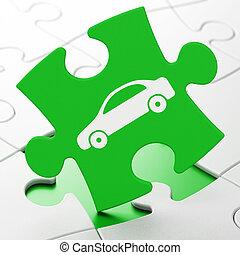 Tourism concept: Car on puzzle background - Tourism concept:...