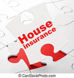 Insurance concept: House Insurance on puzzle background -...