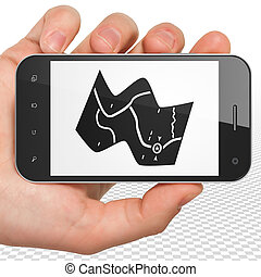 Tourism concept: Hand Holding Smartphone with Map on display...