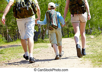 Go hiking - Rear view of three family members going down...
