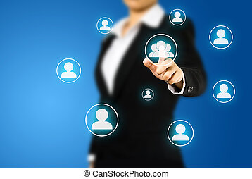 Business women pressing Social network icon
