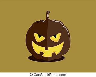 Evil halloween pumpkin-villain - Halloween pumpkin with a...