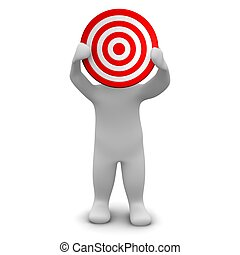 Man holding red target. 3d rendered illustration.
