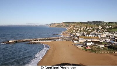 West Bay Dorset England uk pan - West Bay, Dorset, England,...