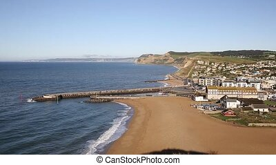 West Bay Dorset England uk small town on Jurassic coast...