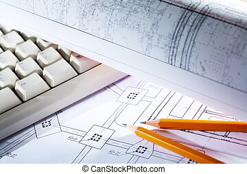 Blueprints and tools - Close-up of blueprints with sketches...