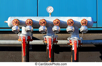 Industrial taps with manometer
