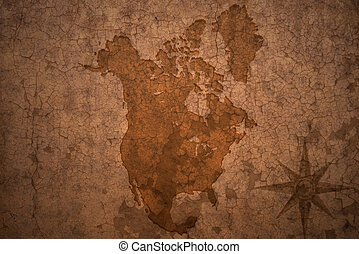 north american map on a old vintage crack paper background