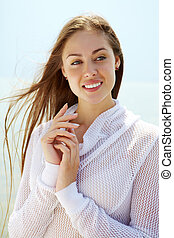 Summer serenity - Image of happy female enjoying life on...
