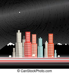 Long Time Exposure. Abstract Vector City with Mountains and...