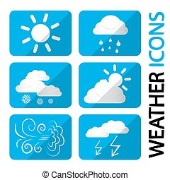 Weather Icons Set. Vector Symbols with Clouds, Sun and Snowflakes. Storm, Rain, Sunny Day, Windy and Cold.