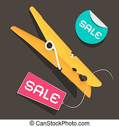 Sale Labels Peg Vector Illustration with Sale Sticker and...
