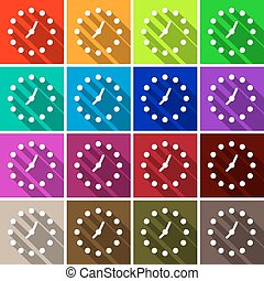 Clock Set. Vector Colorful Retro Clock Face Background.
