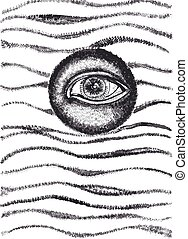 All seeing eye abstract ink drawing Alchemy, spirituality,...