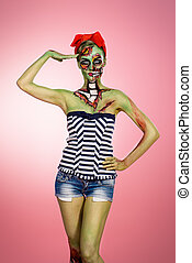 attractive zombie girl - Portrait of a pin-up zombie woman...