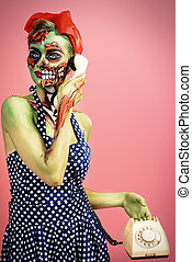 halloween make-up - Portrait of a pin-up zombie woman over...