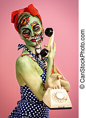 pretty and scary - Portrait of a pin-up zombie woman over...