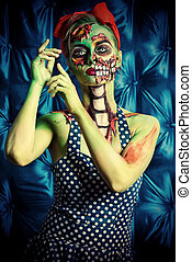 carnival for halloween - Glamorous zombie girl. Portrait of...