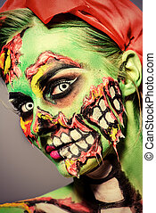 art project - Glamorous zombie girl. Portrait of a pin-up...