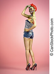 pin-up zombie - Full length portrait of a pin-up zombie...